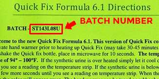 Example where to locate the batch number