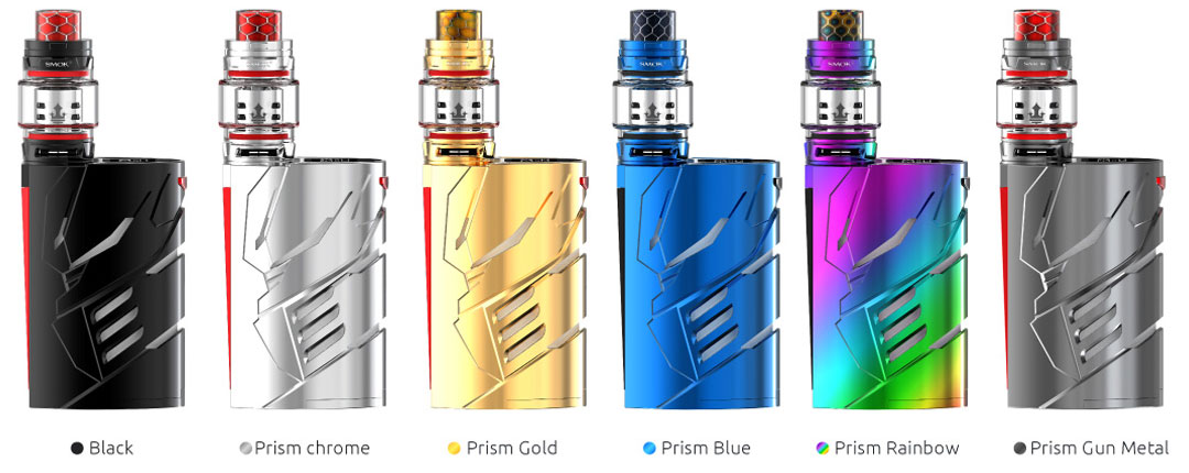 SMOK T-Priv 3 available in colors: black, prism chrome, prism gold, prism blue, prism rainbow and prism gun metal