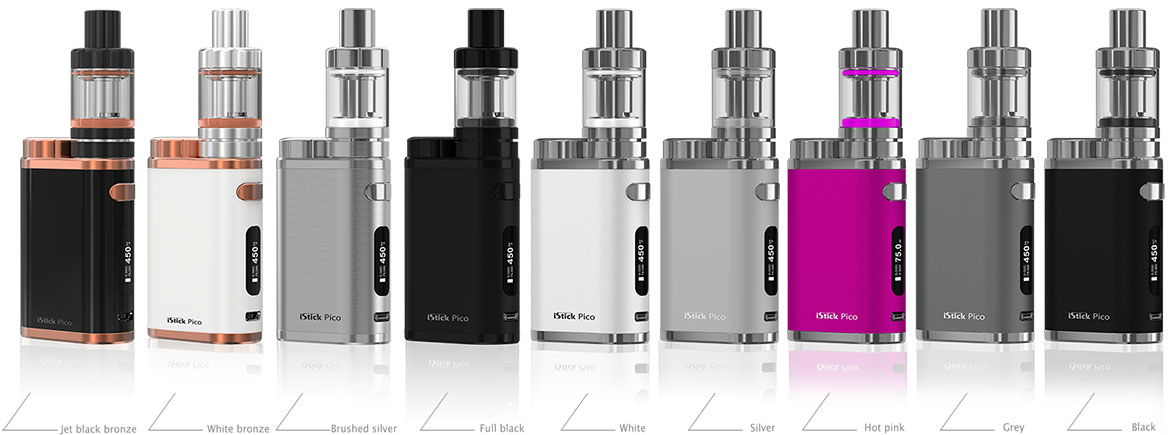 Eleaf iStick Pico Kit Available Colors: full black, brushed silver, hot pink, black, grey silver, white, jet black bronze, white bronze dazzling, red crackle, brushed black silver brushed gunmetal, wood grain