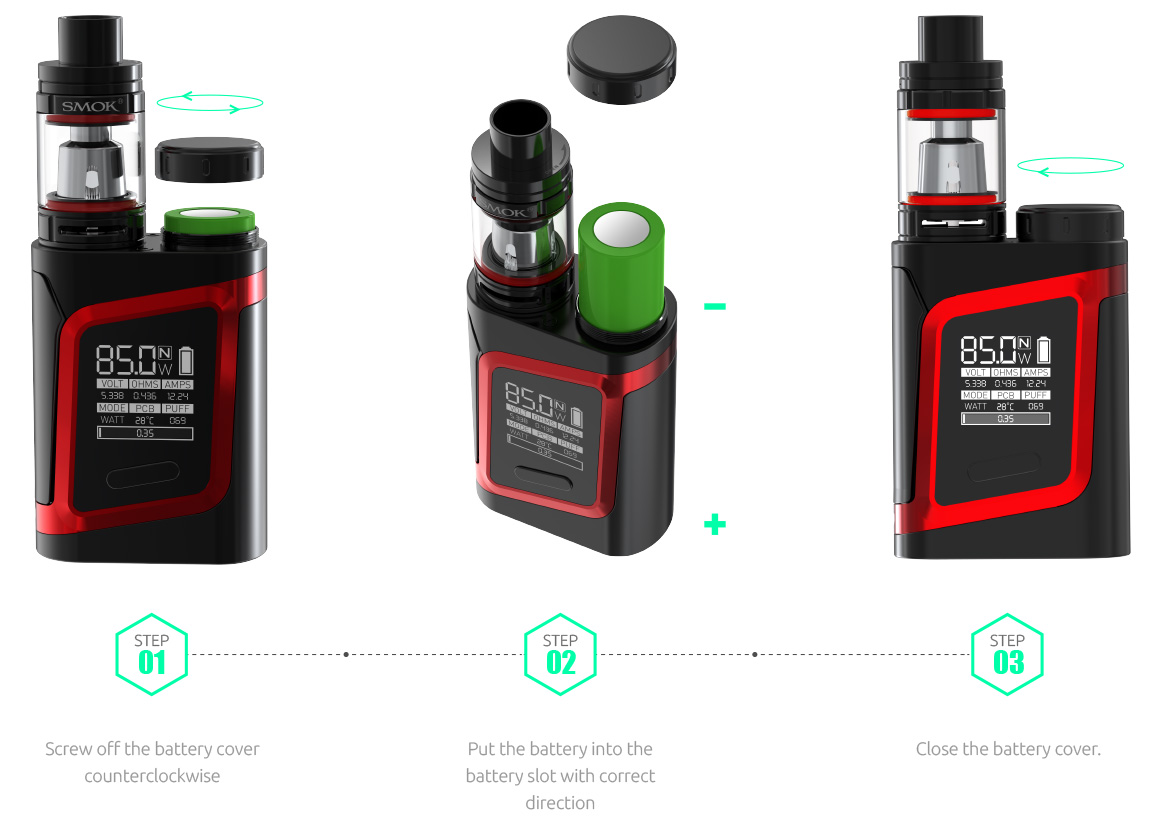 Smok AL85 Alien Baby top battery slot