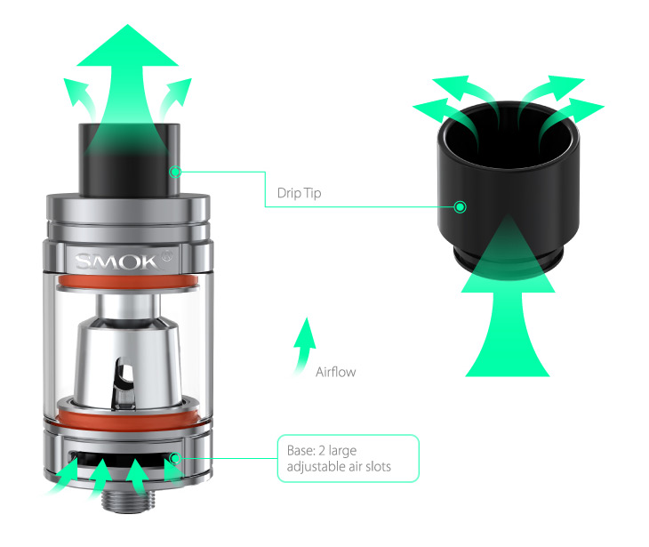 Drip Tip, Airflow, Base: 2 large adjustable air slots.