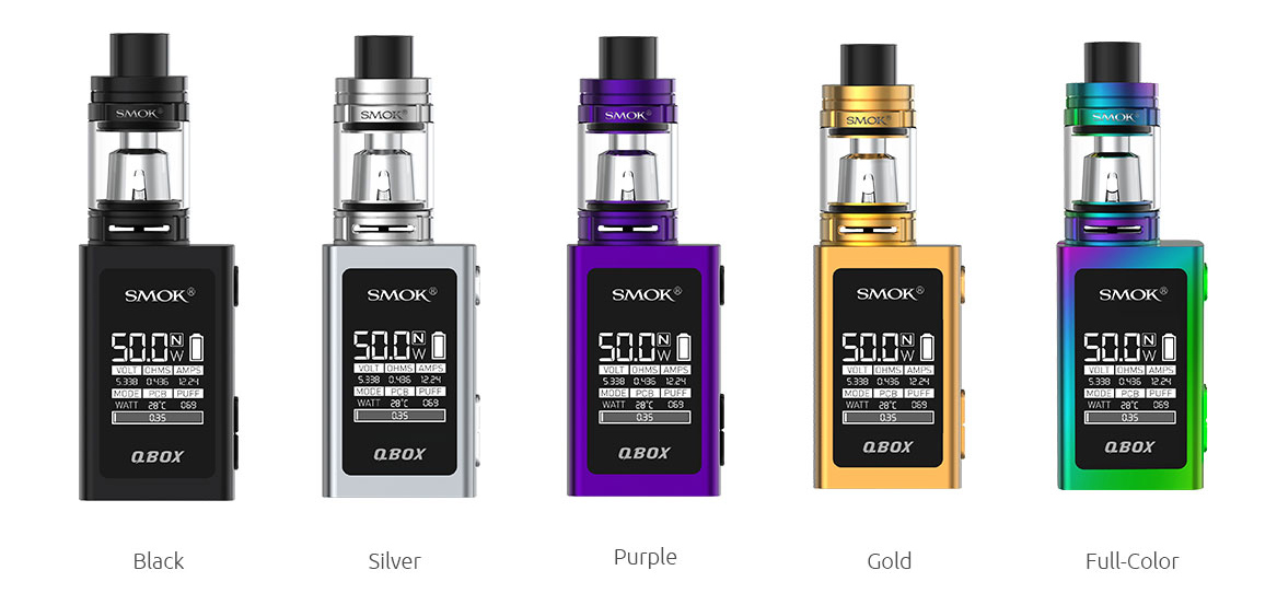 Smok Q-BOX Kit Available Colors Black, Silver, Purple, Gold, Full-Color (7-color)