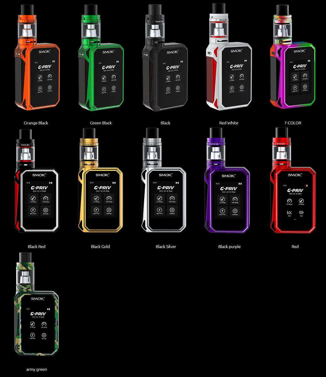 SMOK G-PRIV KIT Available colors: orange black, green black, black, red white, 7-color, rainbow, black red, black gold, black silver, black purple, red army green