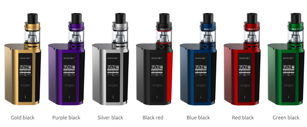 Smok GX2/4 Kit with battery extension in Gold/Black, Purple/Black, Silver/Black, Black/Red, Blue/Black, Red/Black, Green/Black