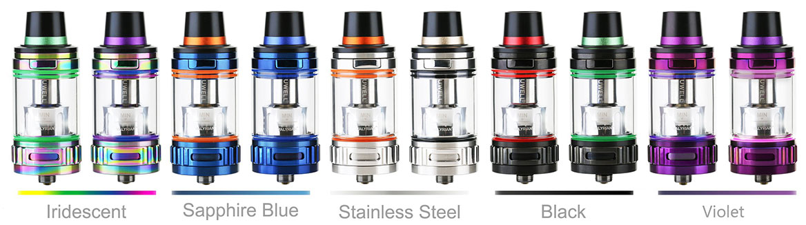 UWELL Valyrian Sub-Ohm Tank Available Colors: iridescent, sapphire blue, stainless steel, black and violet