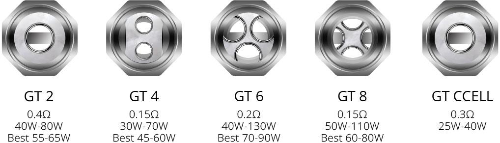Vaporesso Revenger Available Coils: GT 2, GT 4, GT 6, GT 8, GT CCELL