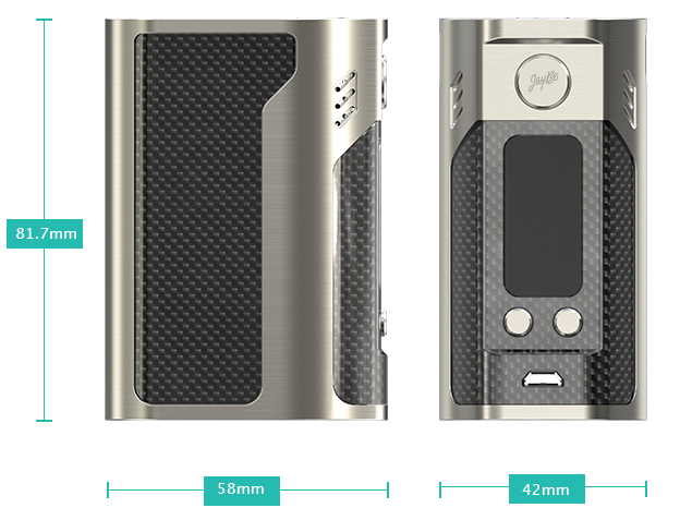 shows devise size measurements of Wismec Reuleaux RX300 Mod